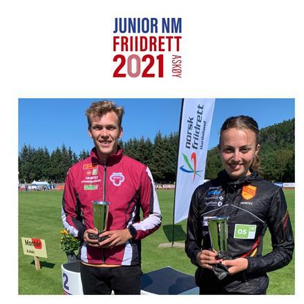 Jr. NM 2021 prisvinnere: Ingeborg Østgård, Ren-Eng og Henrik Flåtnes, Tønsberg Friidrettsklubb