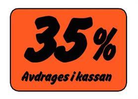 Etikett 35% Avdrages i kassan