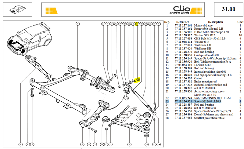 VIS HM12X175 LG:67 CL:10,9 - Screw M12-67 cl:10.9