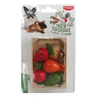 Gnagaregrönsaker i trälåda