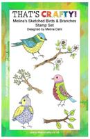 A5 clear stamp set Melina´s sketched Birds & Branc