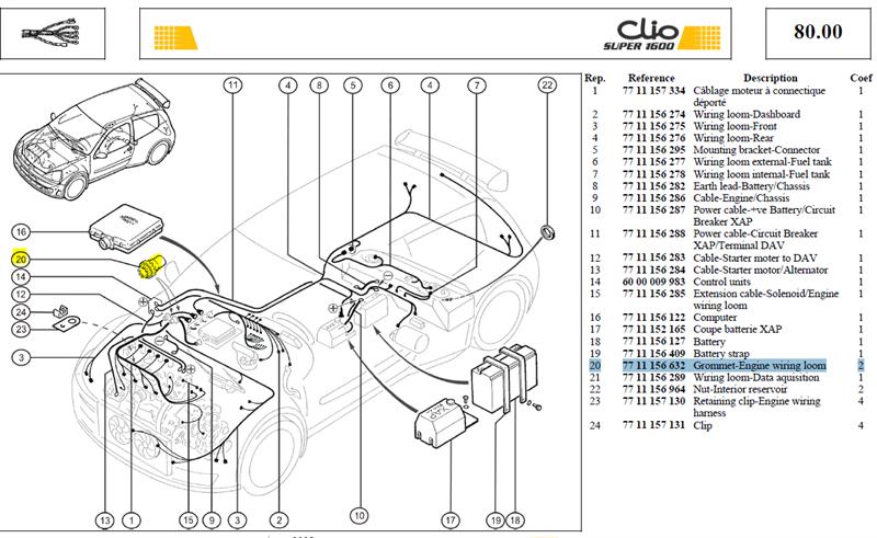 PASSE CLOISON - Grommet-Engine wiring loom