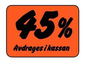 Etikett 45% Avdrages i kassan