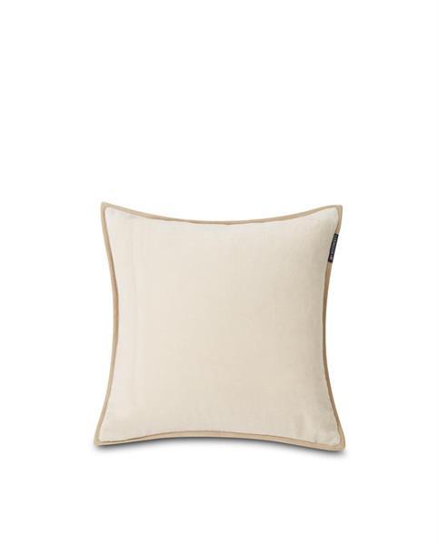 Lexington Velvet Cotton Pillow Cover With Edge, Off White