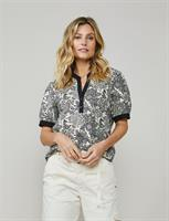 Summum Woman Top Flowers on Cotton, Ivory