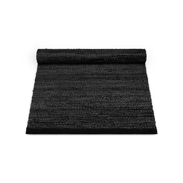 Rug Solid. Nahkamatto, Musta 60 x 90 cm