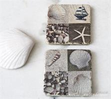 Underlägg/Coaster, strand-rutor med båt