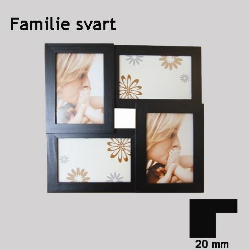 Familie, svart, 4x(10x15cm)