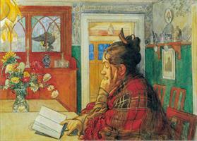 Vykort Karin läser