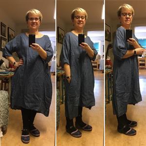 Linneklänning Hanna one size+ Blågrå