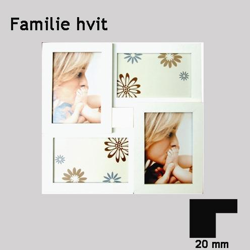 Familie, hvit, 4x(10x15cm)