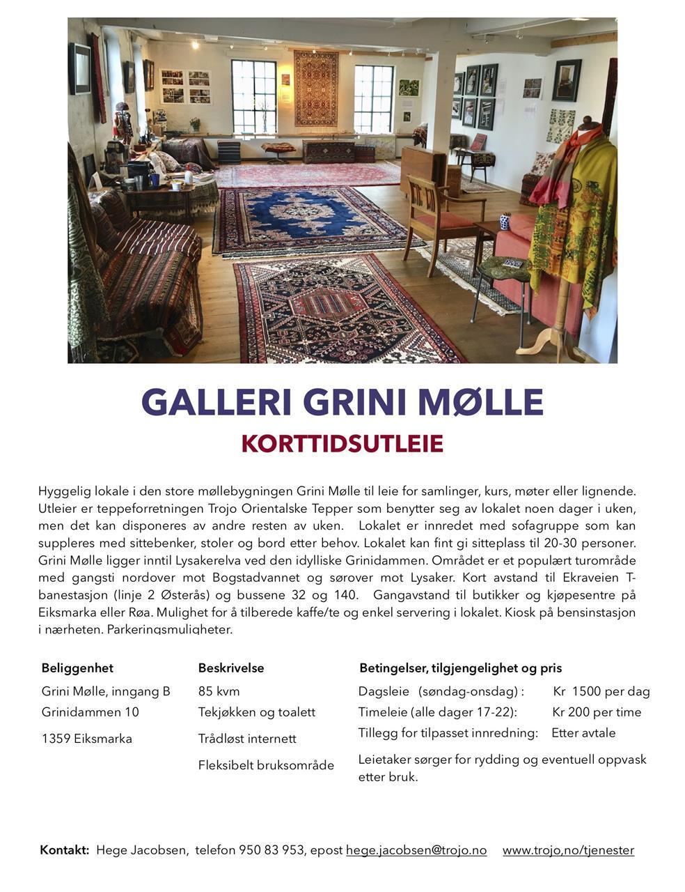 Galleri Grini Mølle korttidsutleie