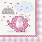Servietter Baby Shower Lys Rosa 16stk