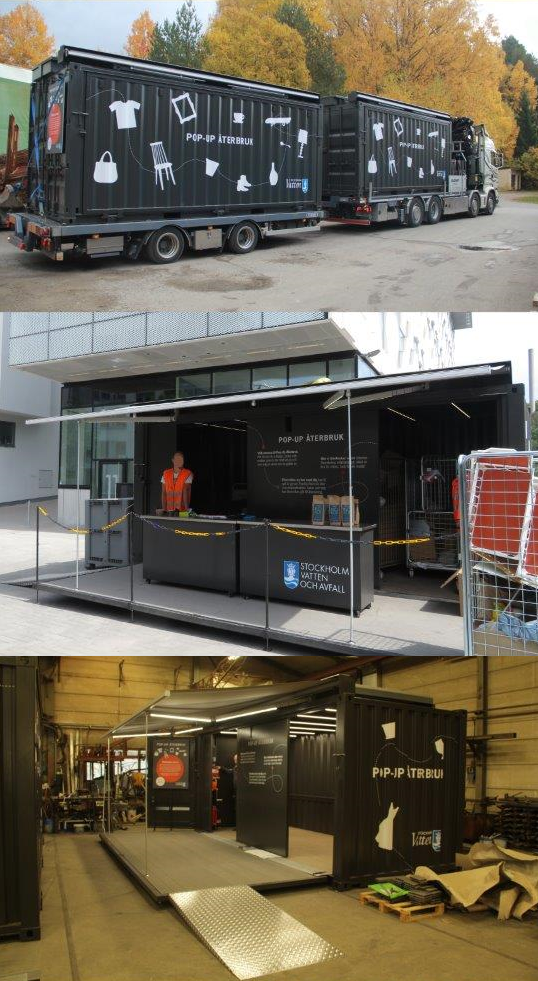Pop-Up för Återbruk; Tillverkning, transport och uppställd på torget