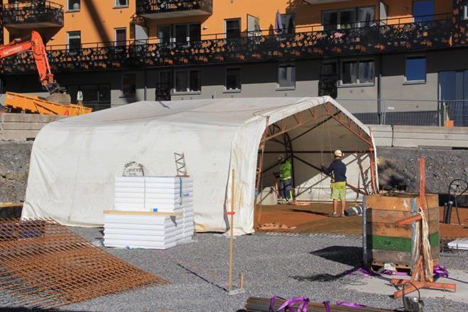 Väderskydd på byggarbetsplats