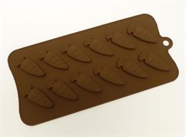 Silikonform sjokolade Gulrot 12 stk