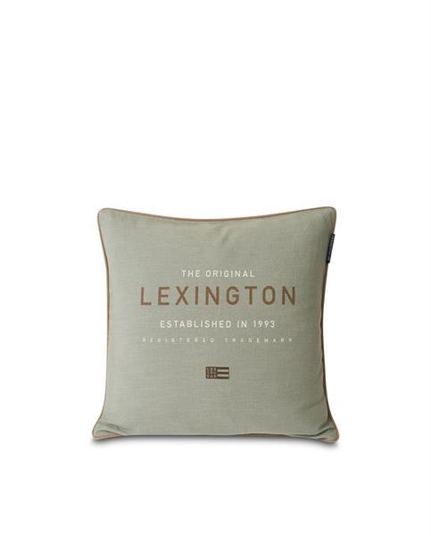 Green Lexington Logo Canvas Cotton Pillow Cover