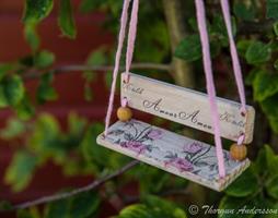 Kärleksgunga lång rosa rosor