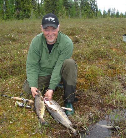 Roger fick uppleva öringsfiske i Sorsele.
