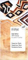 Suklaalevy Vivani tumma 70 % 100 g, luomu