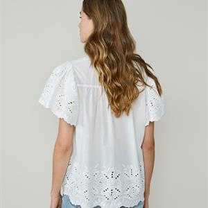 Summum Woman Top Broderie Chiffly, White