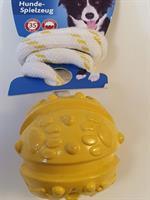 Trixie boll med snöre 7/35cm gul