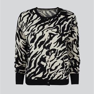Summum Woman Printed Cotton Cardigan, Black