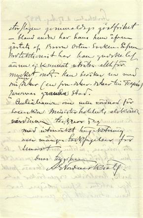 "Brev fra A. En Nordenskiöld til ""Herr Envoyé"", datert Stockholm 17. august 1887. Kr. 2 400,-"