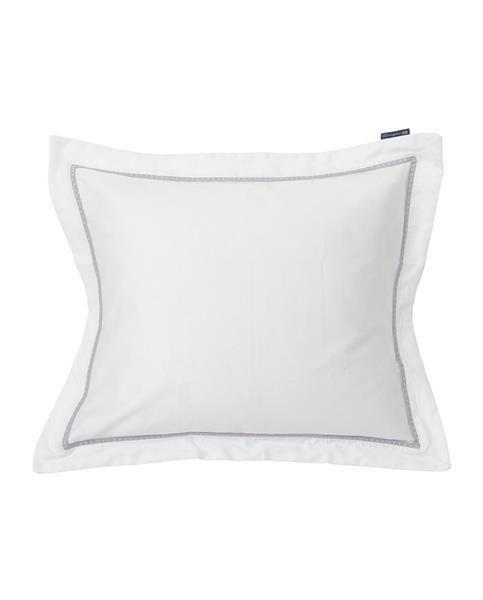Lexington White/Gray Sateen Star Framed Pillowcase, 50 x 60 cm