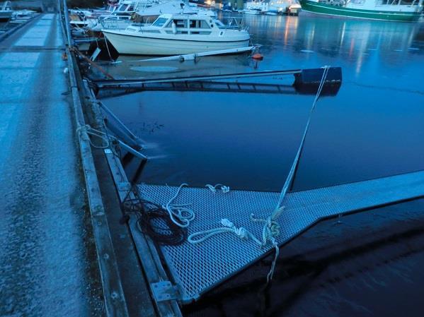 Skade i havneanlegg etter orkanen Nina