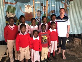 Nine sponsored students at Red Rose School