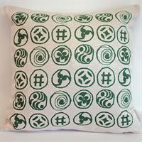 Kuddöverdrag Karins tecken grön
