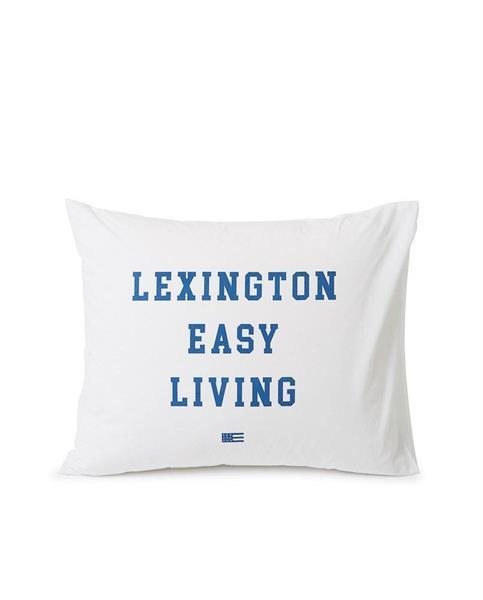 Lexington Printed Organic Cotton Poplin Pillowcase, White/ Blue