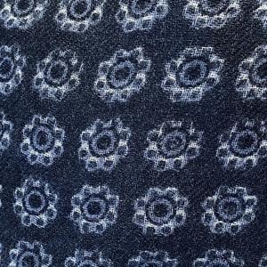 Yllehalsduk Blommönster marinblå