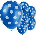Ballonger Dot Blå 6 stk