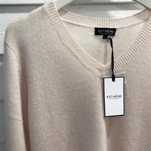 Estheme Cashemire V-Neck Knit, Poudre