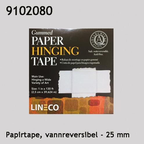 Papirtape hengslingstape vannreversibel 25 mm