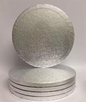 Cake Board RUND Sølv 30cm, 12mm