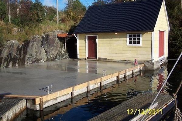 Betongkai, betong arbeid ferdig