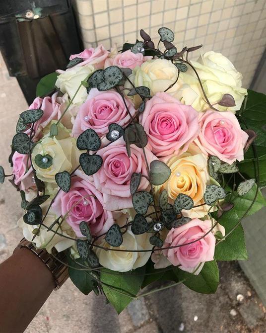 Rosa, creme och gråa toner i härlig synfoni