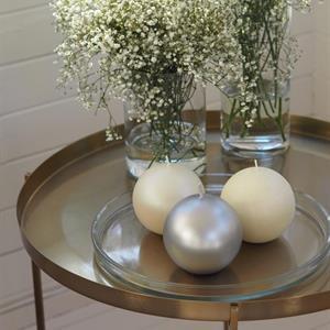 Balmuir Glitter Ball Candle 10 cm, Pearl