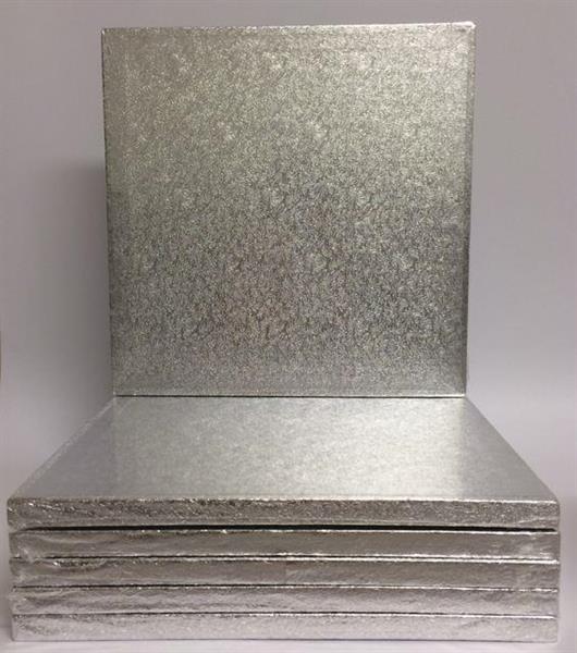 Cake Board KVADRAT 25cm sølv, 12mm