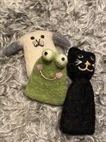 Fingerdockor set Hund-Katt-Groda Afroart
