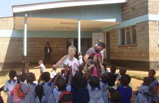 2012 - Outside Kibera Nursary - Soap bubbles great success