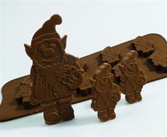 Silikonform sjokolade Gnom 6+1