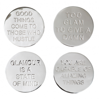 Classic Collection Coaster Quote nickel plated brass