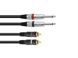 Kabel 2 x jack mono / 2 x RCA 1.5m  sort