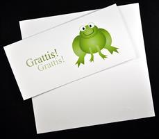 Fondogram groda/grattis / utst hål