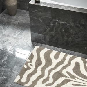Classic Collection Bath Mat Zebra 60 x 90 cm, Simply Taupe/White