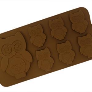 Silikonform sjokolade Ugle 6+1
